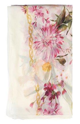 Шелковый шарф с принтом Dolce & Gabbana белый   Фото №2