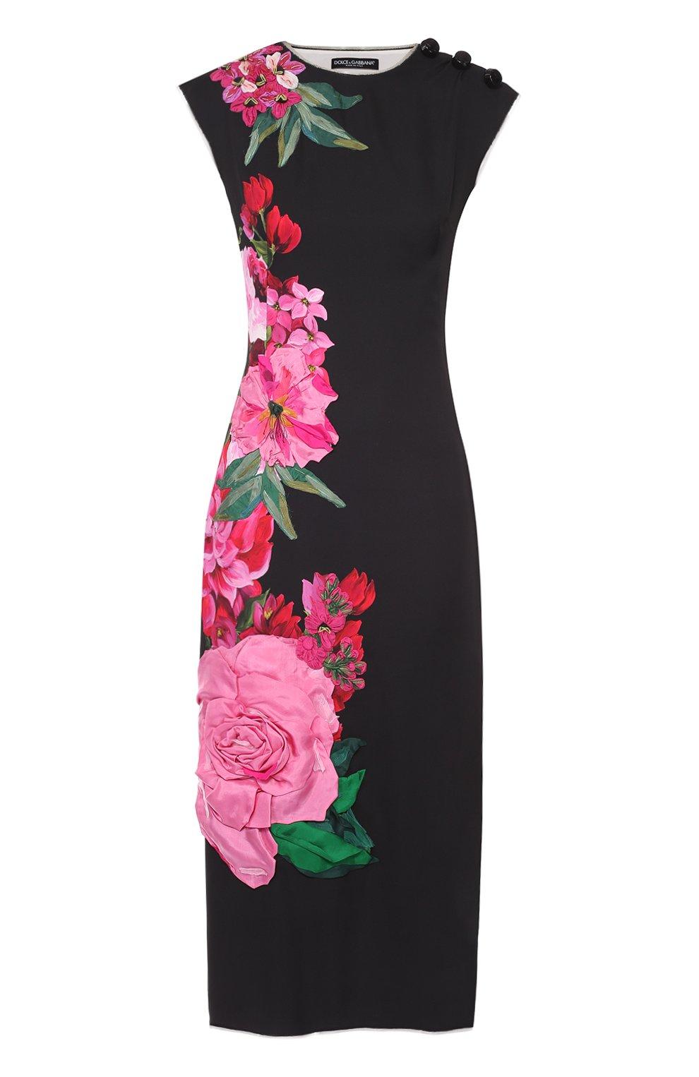 Приталенное платье с цветочным принтом и фактурной отделкой | Фото №1