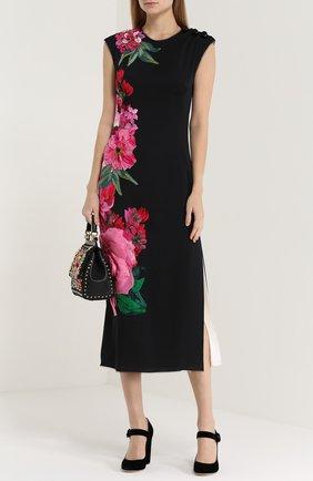 Приталенное платье с цветочным принтом и фактурной отделкой Dolce & Gabbana черное | Фото №2