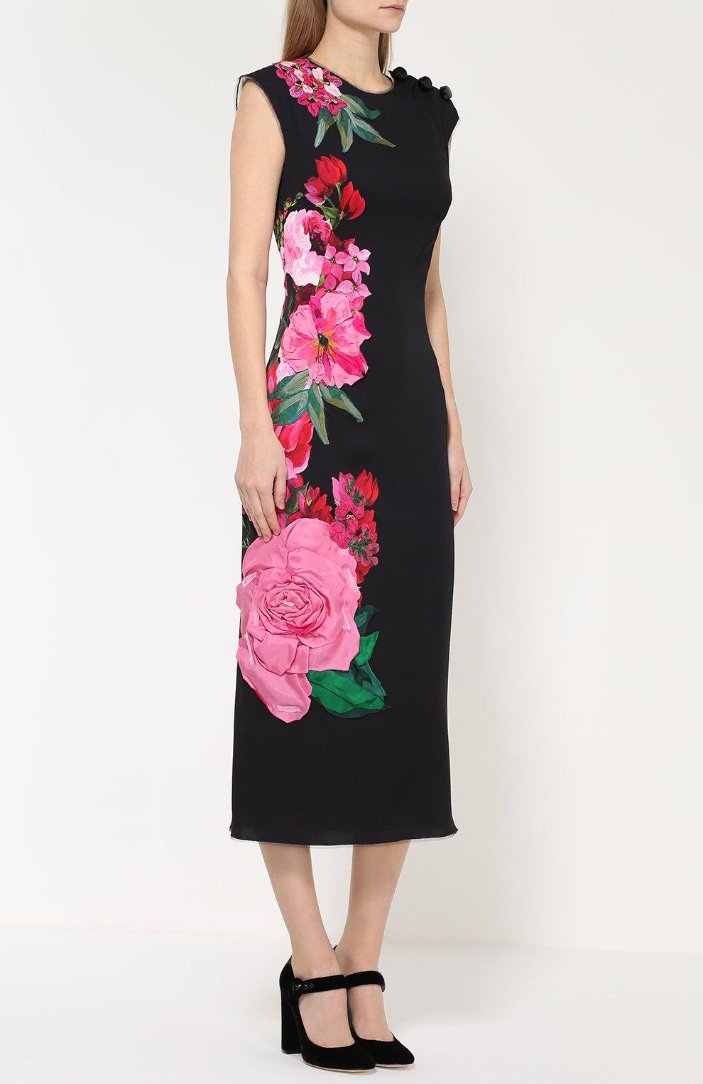 Приталенное платье с цветочным принтом и фактурной отделкой Dolce & Gabbana черное | Фото №3