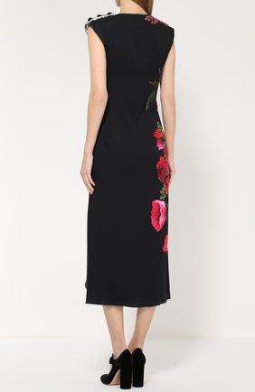 Приталенное платье с цветочным принтом и фактурной отделкой Dolce & Gabbana черное | Фото №4