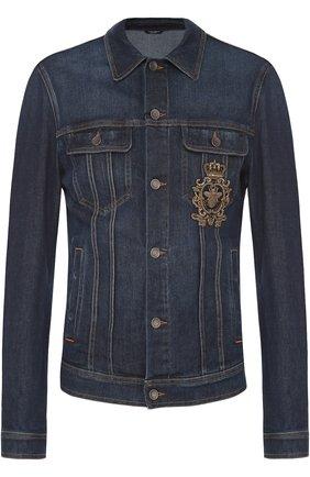 Джинсовая куртка с вышивкой  Dolce & Gabbana синяя | Фото №1