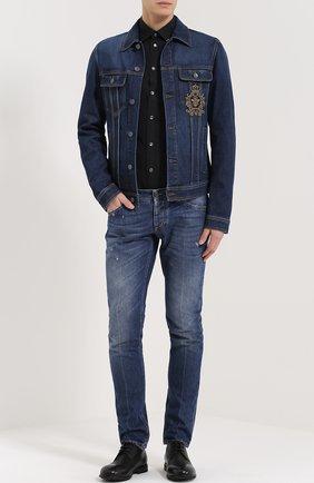 Джинсовая куртка с вышивкой  Dolce & Gabbana синяя | Фото №2