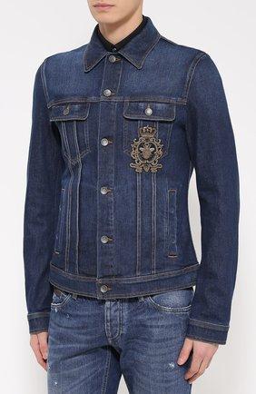 Джинсовая куртка с вышивкой  Dolce & Gabbana синяя | Фото №3