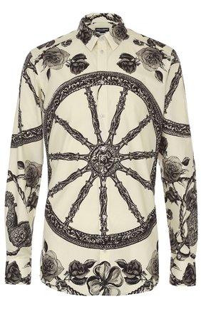 Хлопковая рубашка с принтом Dolce & Gabbana черно-белая   Фото №1
