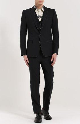 Хлопковая рубашка с принтом Dolce & Gabbana черно-белая   Фото №2