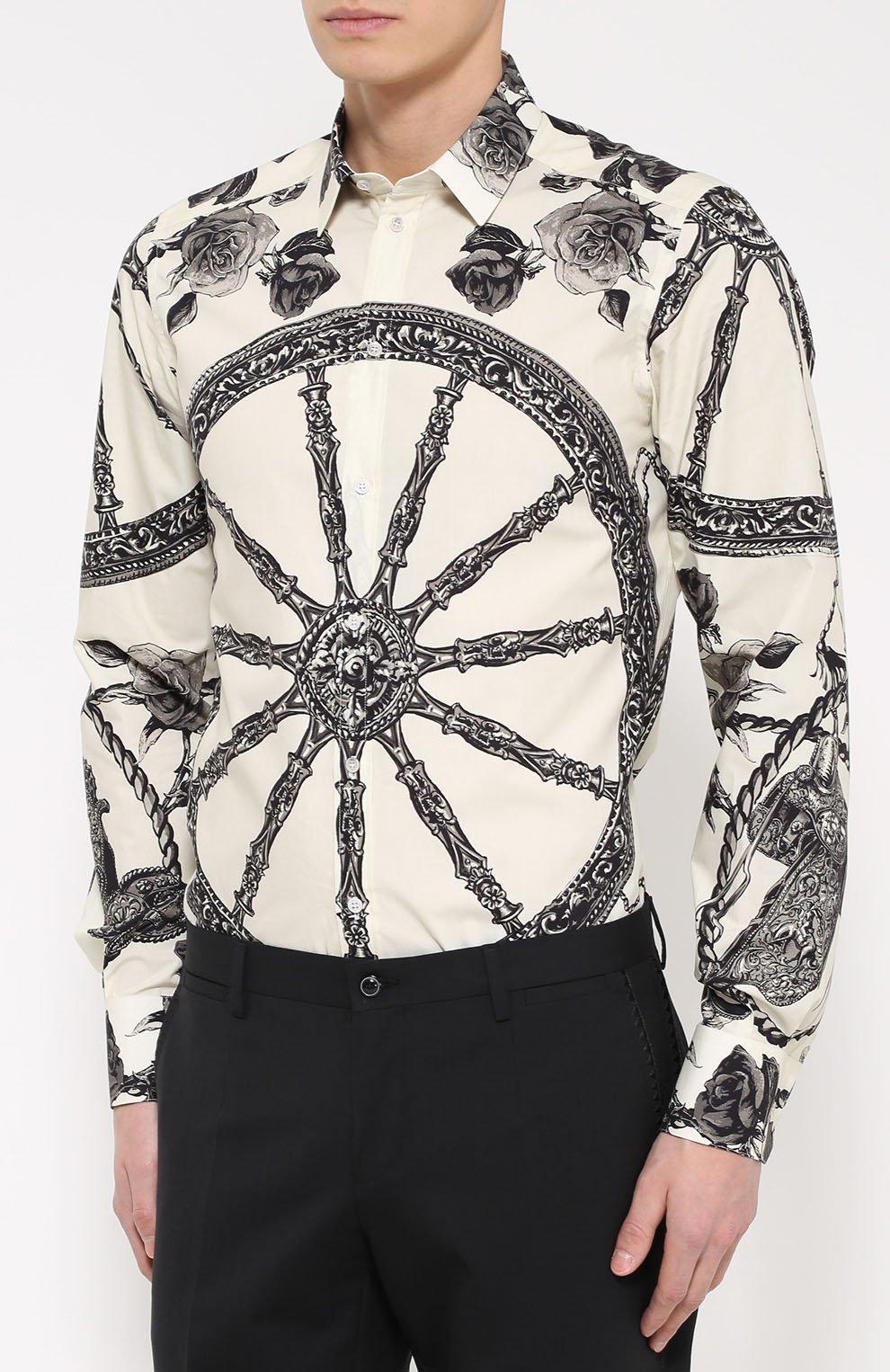 Хлопковая рубашка с принтом Dolce & Gabbana черно-белая   Фото №3