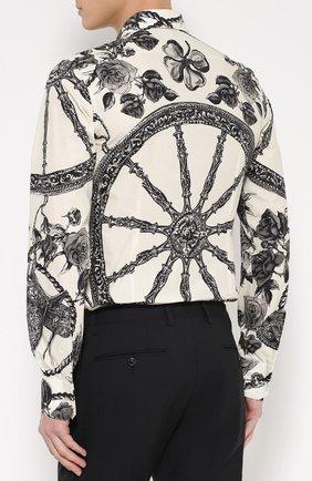 Хлопковая рубашка с принтом Dolce & Gabbana черно-белая   Фото №4