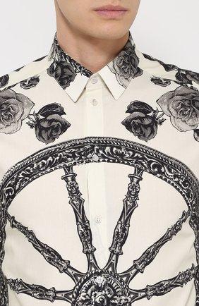 Хлопковая рубашка с принтом Dolce & Gabbana черно-белая   Фото №5