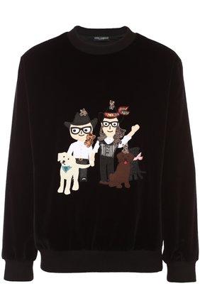 Бархатный свитшот с аппликацией DG Family Dolce & Gabbana черный   Фото №1