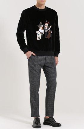 Бархатный свитшот с аппликацией DG Family Dolce & Gabbana черный   Фото №2