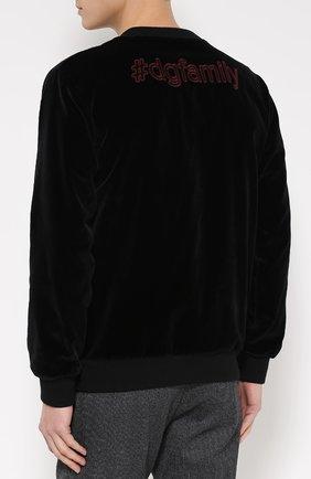 Бархатный свитшот с аппликацией DG Family Dolce & Gabbana черный   Фото №4