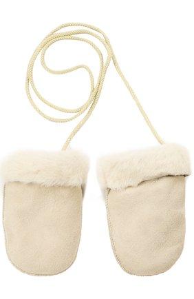 Детские кожаные варежки с отделкой мехом PETIT NORD бежевого цвета, арт. 2110 | Фото 1