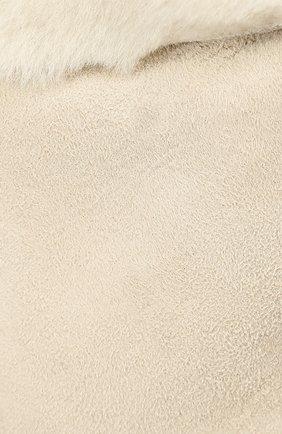 Детские кожаные варежки с отделкой мехом PETIT NORD бежевого цвета, арт. 2110 | Фото 2