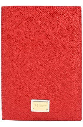Кожаная обложка для документов Dolce & Gabbana красного цвета   Фото №1