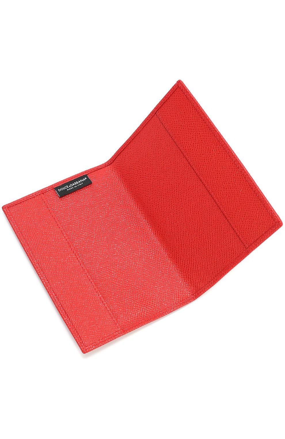 Кожаная обложка для документов Dolce & Gabbana красного цвета   Фото №3