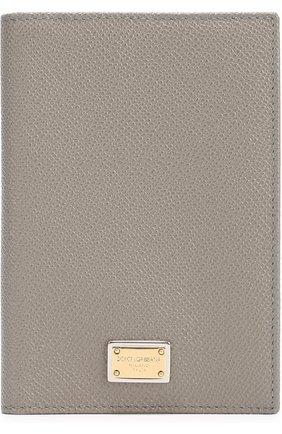 Кожаная обложка для документов Dolce & Gabbana серого цвета | Фото №1