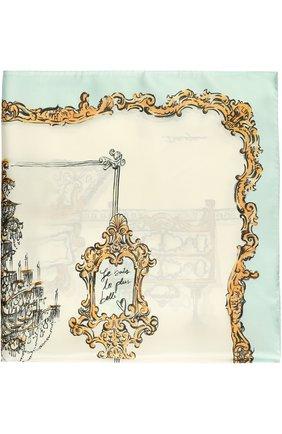 Шелковый платок с принтом Dolce & Gabbana голубой | Фото №1