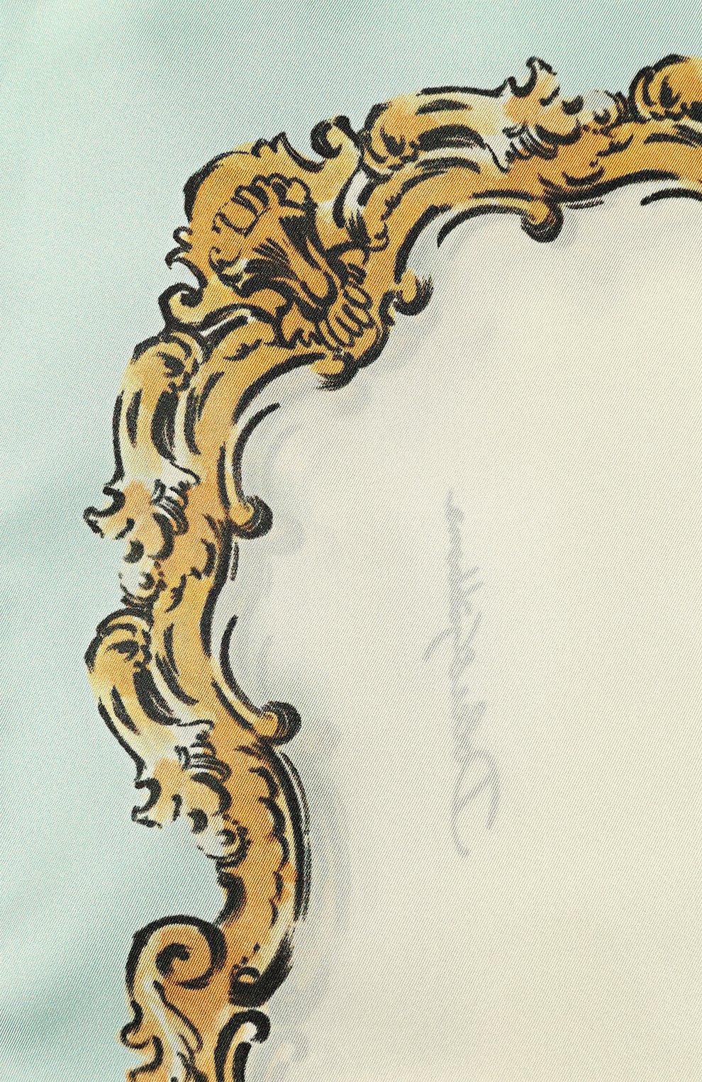 Шелковый платок с принтом Dolce & Gabbana голубой | Фото №3