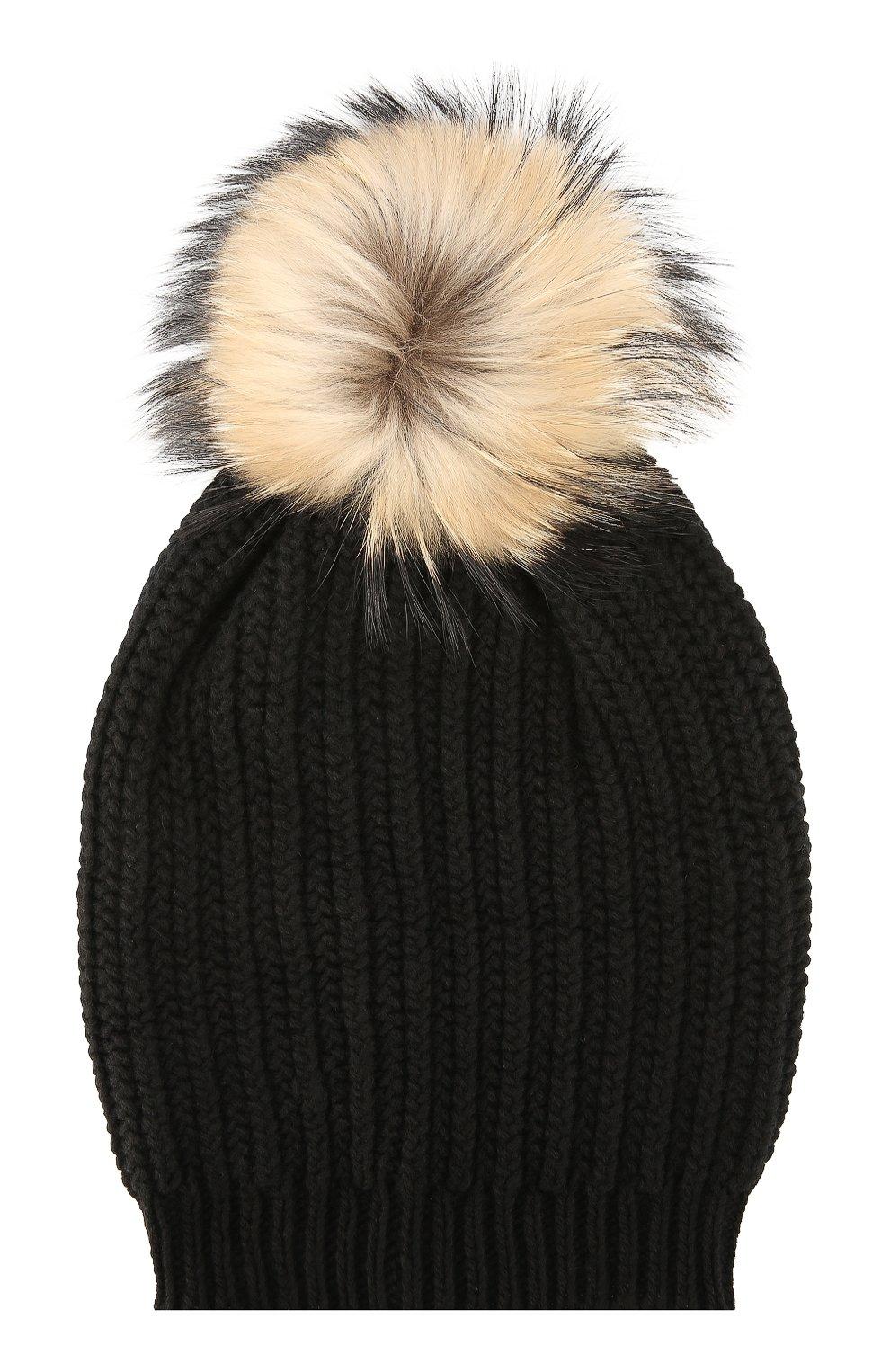 вязаная шапка с меховым помпоном Inverni черного цвета купить за