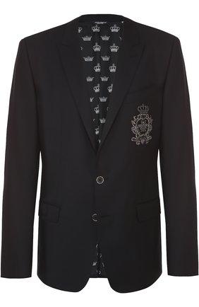 Шерстяной однобортный пиджак с вышивкой | Фото №1