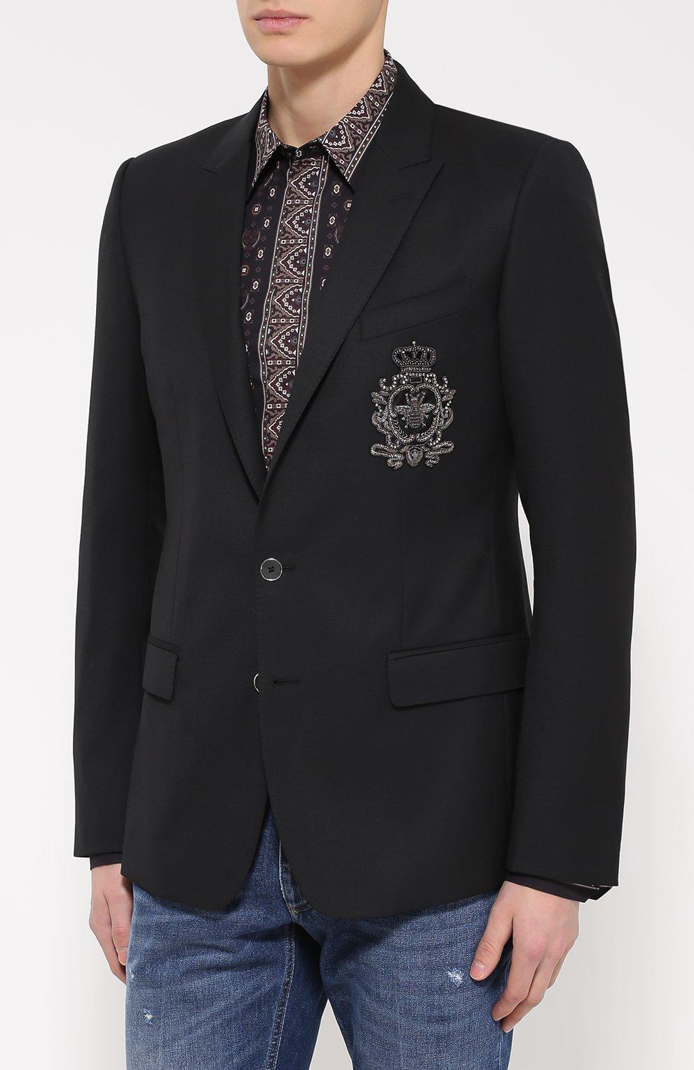 Шерстяной однобортный пиджак с вышивкой | Фото №3