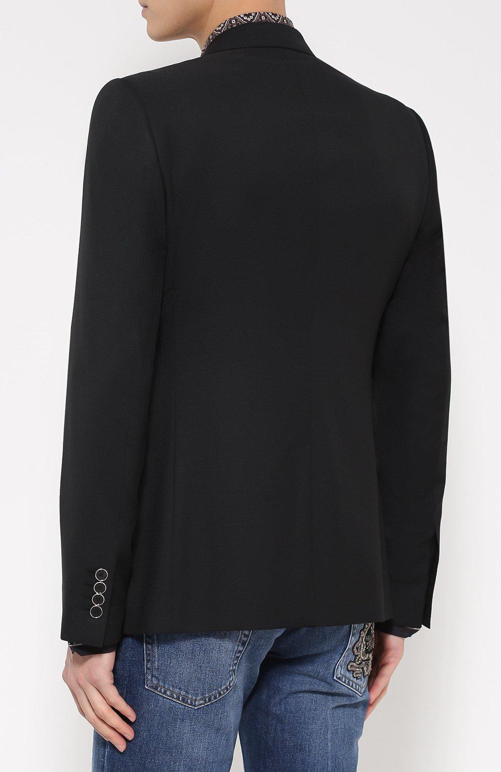 Шерстяной однобортный пиджак с вышивкой | Фото №4