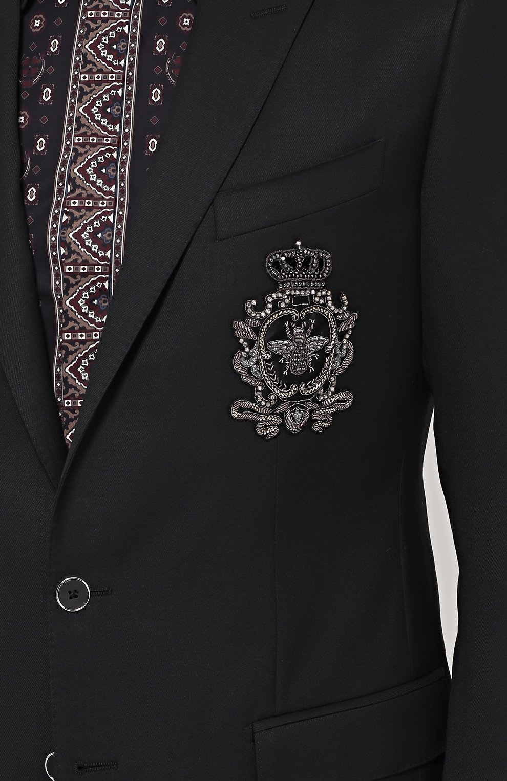 Шерстяной однобортный пиджак с вышивкой | Фото №5