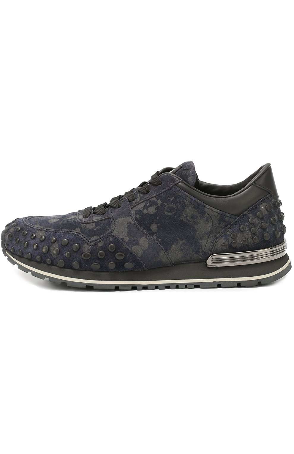 Замшевые кроссовки с текстильной отделкой   Фото №1