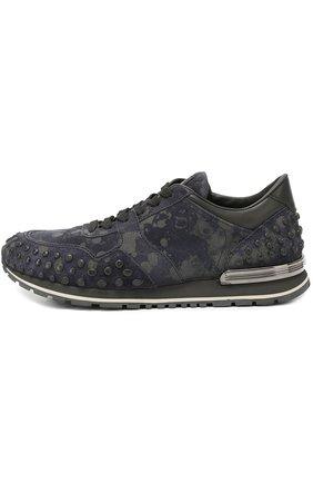 Замшевые кроссовки с текстильной отделкой Tod's темно-синие   Фото №1