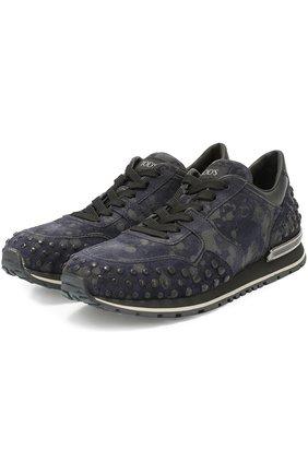 Замшевые кроссовки с текстильной отделкой Tod's темно-синие   Фото №2