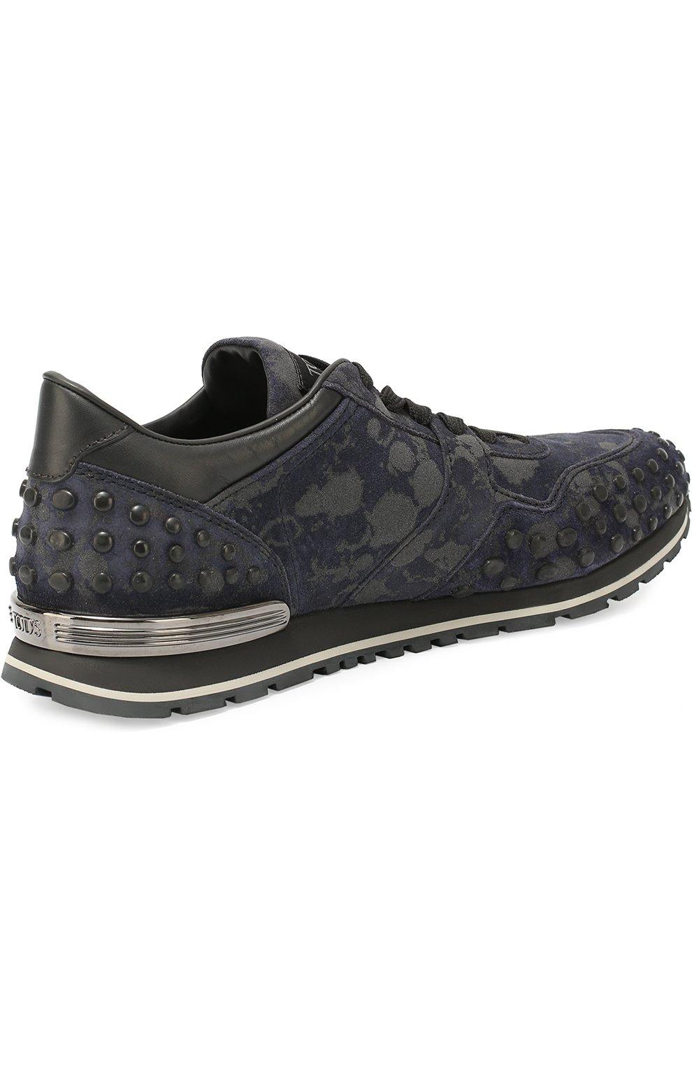 Замшевые кроссовки с текстильной отделкой Tod's темно-синие   Фото №3