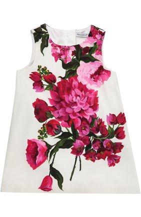 Платье с цветочным принтом Dolce & Gabbana белого цвета | Фото №1