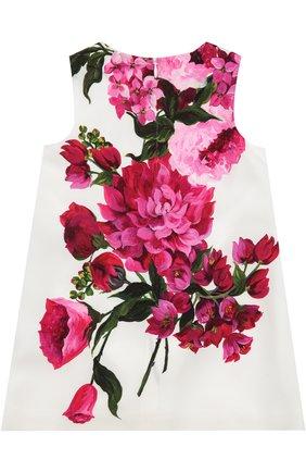 Платье с цветочным принтом Dolce & Gabbana белого цвета | Фото №2