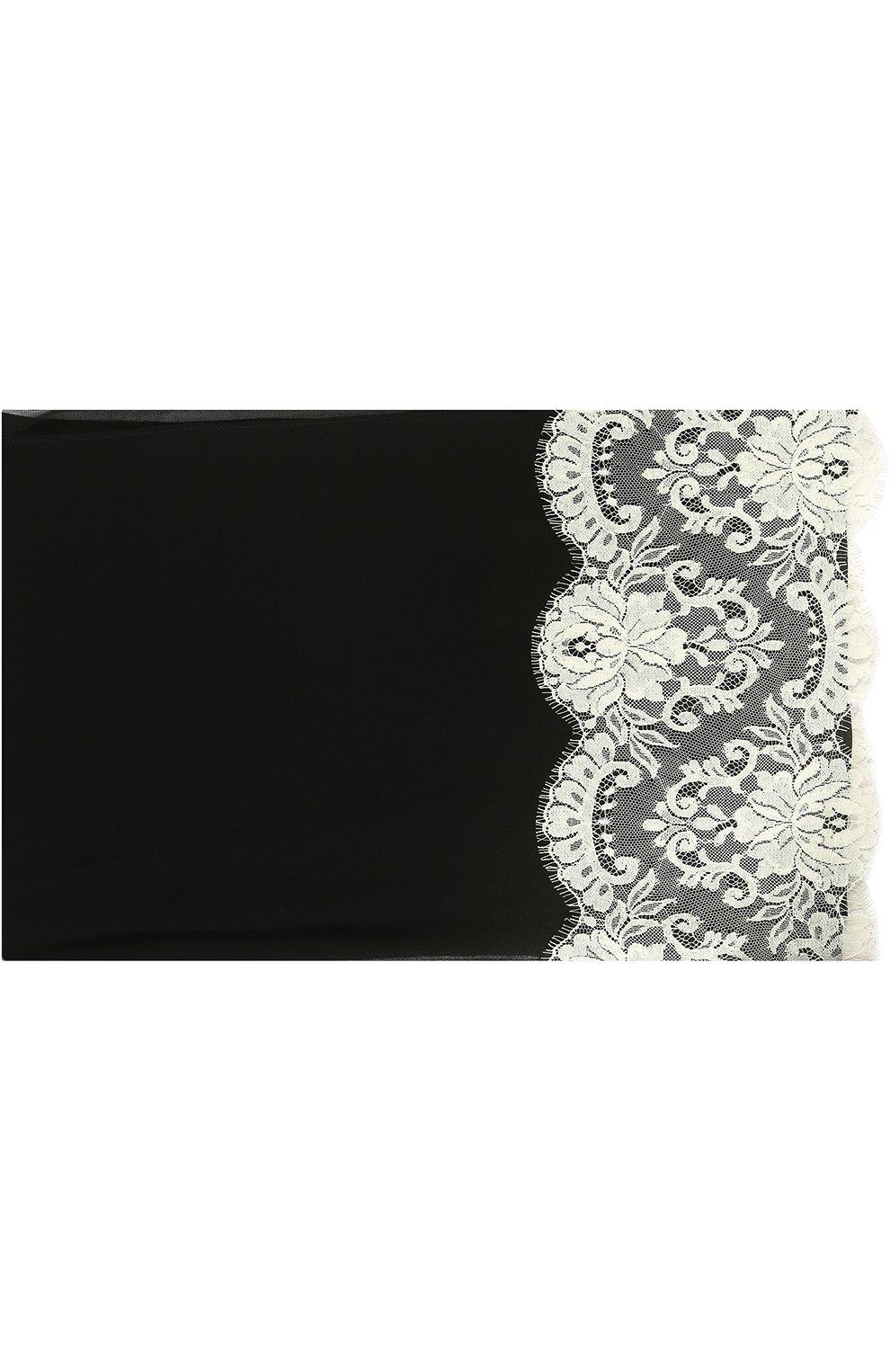 Шелковый платок с кружевом   Фото №1