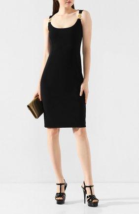 Женские кожаные босоножки tribute SAINT LAURENT черного цвета, арт. 315487/B8I00 | Фото 2