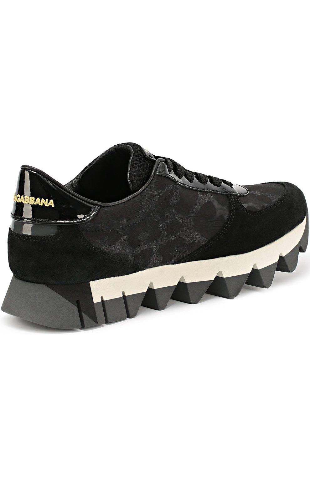 Комбинированные кроссовки Capri с принтом Dolce & Gabbana черные | Фото №3