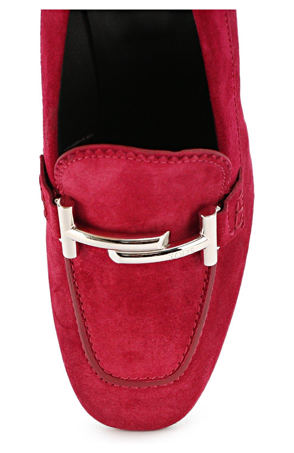 Замшевые туфли Gomma с пряжкой Tod's бордовые | Фото №4