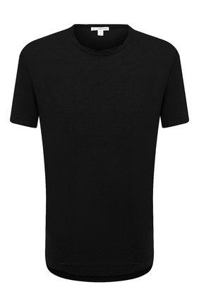 Мужская хлопковая футболка JAMES PERSE черного цвета, арт. MKJ3360   Фото 1 (Принт: Без принта; Рукава: Короткие; Длина (для топов): Удлиненные; Материал внешний: Хлопок; Стили: Кэжуэл; Статус проверки: Проверена категория)