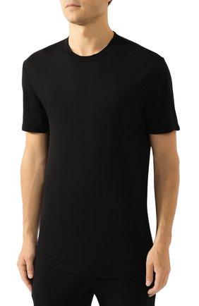 Мужская хлопковая футболка JAMES PERSE черного цвета, арт. MKJ3360   Фото 3 (Принт: Без принта; Рукава: Короткие; Длина (для топов): Удлиненные; Материал внешний: Хлопок; Стили: Кэжуэл; Статус проверки: Проверена категория)