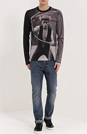Хлопковый лонгслив с принтом James Dean Dolce & Gabbana серая | Фото №2