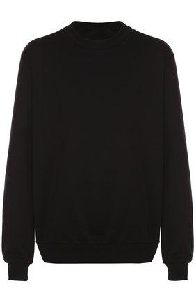 Хлопковый свитшот с вышивкой на груди Dolce & Gabbana черный | Фото №1