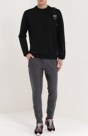 Хлопковый свитшот с вышивкой на груди Dolce & Gabbana черный | Фото №2