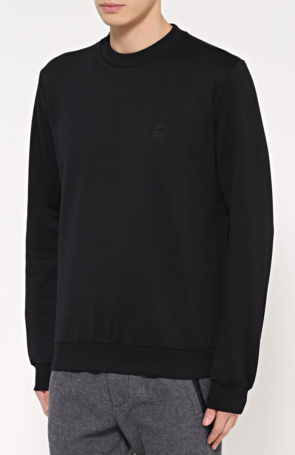 Хлопковый свитшот с вышивкой на груди Dolce & Gabbana черный | Фото №3