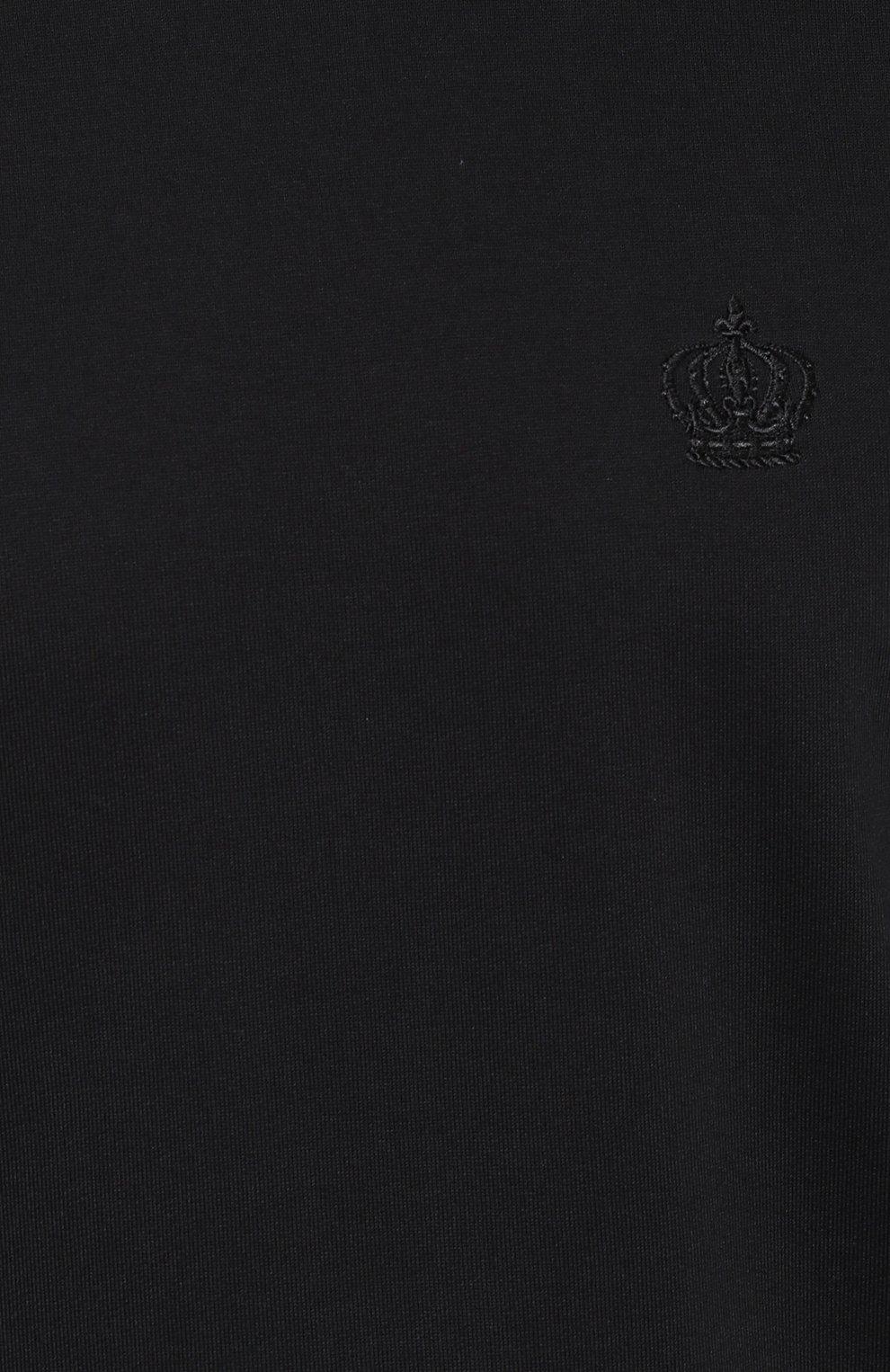 Хлопковый свитшот с вышивкой на груди Dolce & Gabbana черный | Фото №5