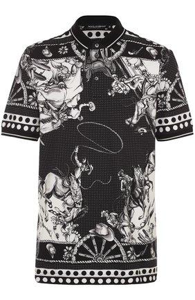 Хлопковое поло с принтом Dolce & Gabbana черное | Фото №1