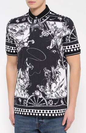 Хлопковое поло с принтом Dolce & Gabbana черное | Фото №3
