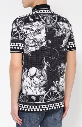 Хлопковое поло с принтом Dolce & Gabbana черное | Фото №4