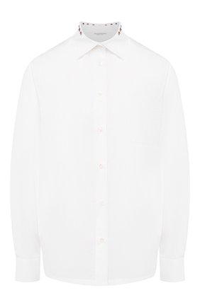 Хлопковая блуза с накладными карманами и декоративными шипами   Фото №1