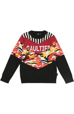 Детский шерстяной джемпер с контрастным принтом Jean Paul Gaultier черного цвета | Фото №1